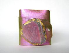 leather cuffs, bracelet pink, cuff bracelets