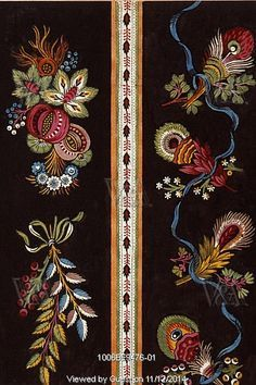 textile design with spray of flowers; France, 19th century