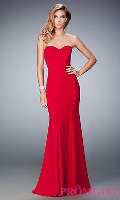 Classic La Femme Long Strapless Sweetheart Prom Dress at PromGirl.com