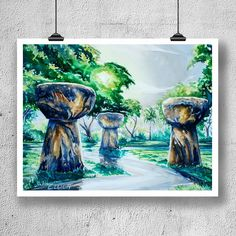 """""""Days End at Latte Stone Park"""" was originally done in watercolor. Based on the Latte Stones of Guam Guam Tattoo, Canvas Prints, Art Prints, Stone Art, Fine Art Paper, Giclee Print, Watercolor, 12 Days, Gallery"""