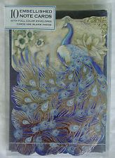PUNCH STUDIO FANCY ITALIAN PEACOCK 10 EMBELLISHED NOTE CARDS W/FULL COLOR ENV...
