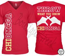 Chi Omega Throw Tee -ΧΩ Collection. Design Exclusive to BoutiqueGreek.com
