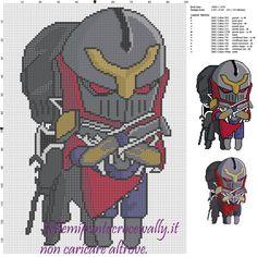 Zed (League of Legends) schema gratis punto croce 100x137 13 colori