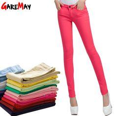 Garemay vrouwen snoep broek potlood broek 2016 lente fall khaki stretch broek voor vrouwen slim dames jean broek vrouwelijke 1010