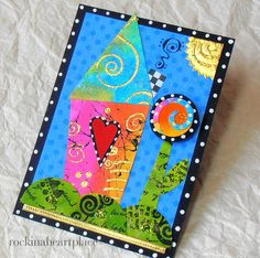 ACEO  original collage art card  wonky house by RockInAHeartPlace, $10.00