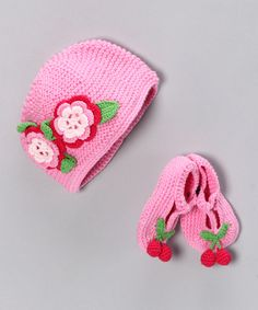 Take a look at this Adorably Organic Pink Cherry Pie Organic Beanie & Booties on zulily today!
