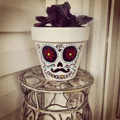 DIY Sugar Skull Ceramic Pot