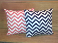 Coral and Navy 16 x 16 inch Chevron Pillows. $24.00, via Etsy.