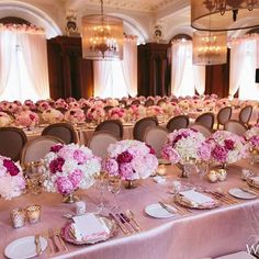 Peonies as far as the eye can see! Hundreds of #peony-filled #centrepieces in varying shades of #pink packed a serious punch at this #Vancouver #wedding! See more on WedLuxe.com, plus get the full story in our new W/S 2017 issue on newsstands NOW! (: @melialucida, full-service planning and design assistance: @aliciakeats, floral: @flowerzinc, decor: @koncept.events, tables: @abpartytime, glassware:  @uprightdecor, venue: @vancouverclub)