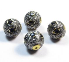 Natural Blue SapphireStone 1 Pcs Ball With Diamond by GEMSICON