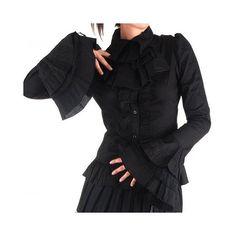 Victorian Inspired Black Lolita Shirt.  Crazyinlove.