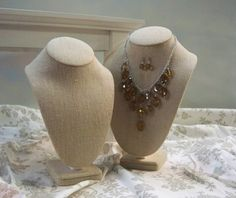 Linen jewelry displays - great for a beachy chic or shabby chic look!    Boutique & Linen Jewelry Displays  available now!