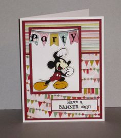 A Banner Day by pink_lady - Cards and Paper Crafts at Splitcoaststampers Sketch 2, Card Sketches, Disney Cards, Pink Lady, Simon Says Stamp, Word Art, Birthday Cards, Banner, Paper Crafts