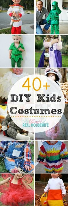 Great costumes ideas you can make for your kids this year! 40 plus DIY Kids Costumes.