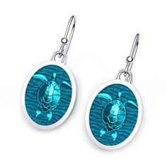 Artist Designed Sea Turtle Earrings with Gem Enamel