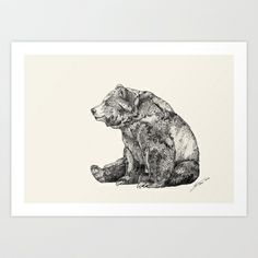 Bear // Graphite Art Print by Sandra Dieckmann - $18.00. How could you resist that face?