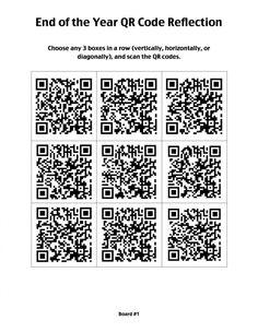 QR Code Year-End Reflection - Tic Tac Toe Board / Choice Board