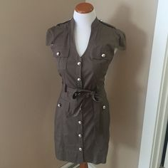 Express Military Style Dress Large silver buttons and tie belt- such a cute little number for a girl/woman with a nice thin shape. Olive green. Express Dresses