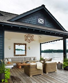 outdoor bench seating for back deck. -brooke
