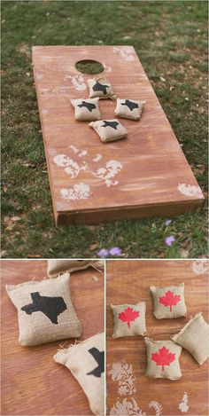 Texas and Canada corn hole boards. Captured By: Sunny 16 Photography ---> http://www.weddingchicks.com/2014/05/29/vintage-reception-with-steal-worthy-ideas/