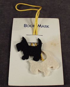 Vintage Black & White Felt, Scotty Dogs Bookmark