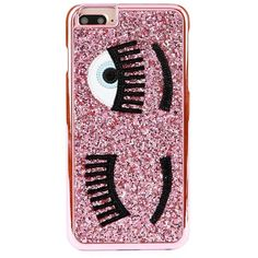 Chiara Ferragni Flirt iPhone 6-6S Case ($40) ❤ liked on Polyvore featuring accessories, tech accessories, leather iphone case, iphone cases, print iphone case, iphone cover case and pink glitter iphone case