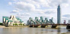 Vauxhall Bridge mit MI6 Secret Service Hauptquartier und St. George Wharf Tower