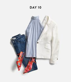 not a fan of the white blazer but love the high collar and the pop of color shoes