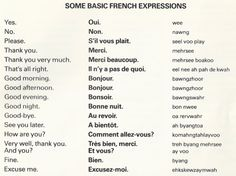Some Basic French Expressions . Basic French Words, French Phrases, French Quotes, French Sayings, French Verbs, French Expressions, French Language Lessons, French Language Learning, French Lessons
