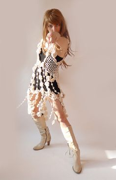 Beige crochet dress vest tunic luxury boho style by GlamCro, $440.00