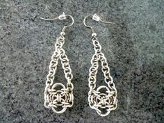 Celtic earrings chainmaille earrings Silver earrings by Kostadinka, $15.00