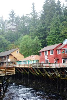 """Creek Street - Ketchikan, Alaska! Historic boardwalk and Red Light district """"where fish and fisherman go up the creek to spawn!"""" haha!"""