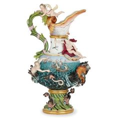 Large Meissen porcelain 'Elements' ewer emblematic of Water | By Meissen Porcelain Manufactory (German, founded 1710) | German | c. 1880. More details online at mayfairgallery.com Pink Dolphin, Famous Models, Cherub, Ten, 19th Century, Mermaid, Porcelain, Antiques, Antique Vases