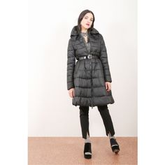 Flared quilted jacket with stand-up collar