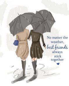 Best Friends - Best Friends Stick Together- Sisters Digital Art Print - Sisters -  Tween Sister Friend Wall Art -- Print