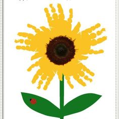 Sunflower Handprint Art – Personalized Baby Nursery, Child's Room, Girls'… - Easy Crafts for All Kids Crafts, Daycare Crafts, Baby Crafts, Crafts To Do, Projects For Kids, Infant Art Projects, Easy Crafts For Toddlers, Fall Art For Toddlers, Infant Crafts