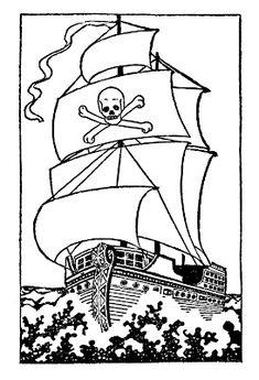 Black and White Clip Art - Pirate Ship