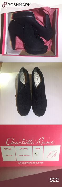 Women's Charlotte Russe Shoes -Black suede shoes -worn once with original box -still in good shape! Charlotte Russe Shoes Heels