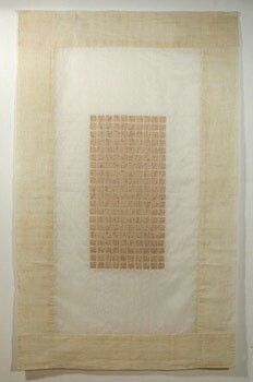 Kyoung Ae Cho - Maple veneer marked with burns, sandwiched between two layers of silk organza secures by hand stitches- 36x60