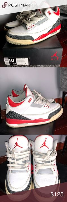 "e18d1a58c0fa0e Jordan ""Fire Red 3s"" size 10 Pretty good condition some yellowing from age  comes"