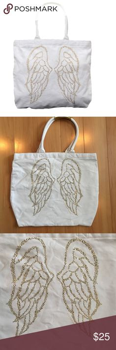 Victoria's Secret Bling Wing Tote Victoria's Secret Gold Bling Wing Canvas Tote Bag Victoria's Secret Bags