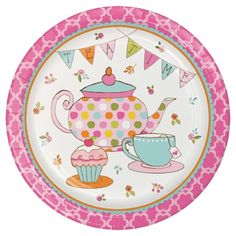 Serve up tasty meals and appetizers for all the girls at the birthday celebration with these Tea Time Dinner Plates. Featuring beautiful designs of a tea pot, tea cup, and delicious cupcake along with an elegant candy pink border, this Sturdy Style paper plate is sure to make the birthday girl feel like royalty. The round dinner plates come in packages of 8 and can be mixed and matched with other Tea Time table décor.