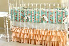 Peach Ruffle Hope Chest Crib Bedding Set by LottieDaBaby on Etsy, $390.00