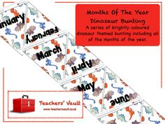 Months Of The Year Dinosaur Bunting - EYFS, KS1 Dinosaur Teaching Resources, Activities and Displays