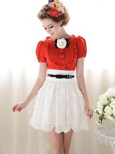 Morpheus Boutique  - Red Vintage Style Ruffle Cap Sleeve Chiffon Bow Shirt