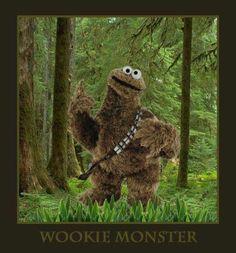 Chewbaca + Cookie Monster = Wookie Monster