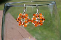 Orange Sun Jewelry Swarovski Crystal Earrings by HandmadeJILLry