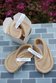 Fortune Cookie Booties by sushibooties: Made to order from plush fleece with personalized fabric fortunes swen in and no-grip soles. $24 #Booties #Baby #Fortune_Cookie