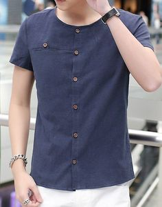 Slimming Collarless Button Embellished Solid Color Short Sleeves Men's Cotton+Linen Shirt - Deep Blue - M - DEEP BLUE M