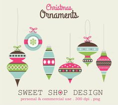 Christmas Ornaments Clip Art, Christmas Clip Art, Holiday Clip Art, Royalty Free Clipart, BGPB6, Instant Download by SweetShopDesign, $4.95